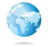 世界地图和地球细节传染媒介例证 免版税库存照片