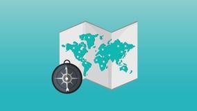 世界地图和指南针HD定义 向量例证