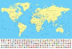 世界地图和旗子-边界、国家和城市-例证 库存例证