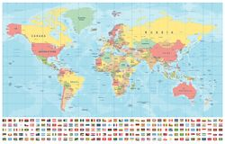 世界地图和旗子-边界、国家和城市-葡萄酒例证 向量例证