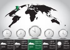 世界地图和时区传染媒介例证 免版税库存图片
