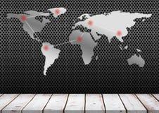 世界地图和木平台有关 免版税库存图片