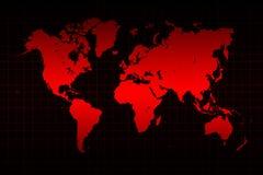 世界地图和网格线在红色 库存例证