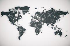世界地图和连接线 图库摄影