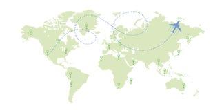 世界地图和飞机