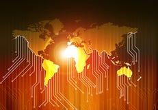 世界地图和高科技电路板 库存图片