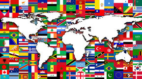 世界地图在世界旗子背景中  免版税库存图片