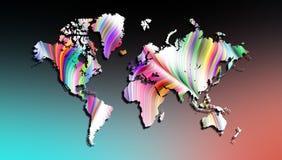 世界地图在被遮蔽的背景的彩虹纹理 皇族释放例证