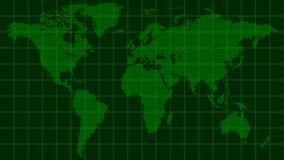 世界地图地球,深绿雷达显示器矩阵样式 免版税库存图片