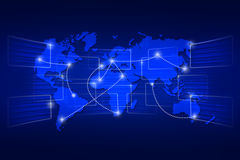 世界地图地理世界秩序背景运输的蓝色 图库摄影