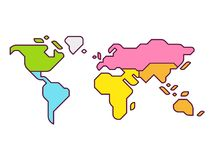 世界地图大陆 向量例证