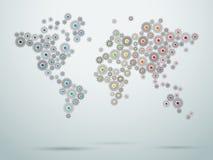 世界地图嵌齿轮连接传染媒介1 免版税图库摄影