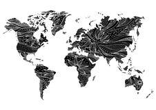 世界地图手拉的花花卉设计传染媒介 免版税库存照片