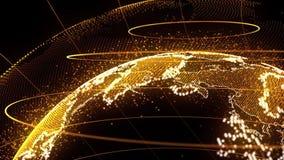 世界地图点,线构成全球网络连接 股票录像