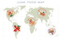 世界地图用快餐和拿走食物 免版税库存图片