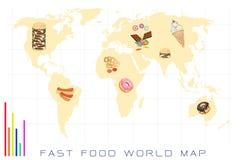世界地图用快餐和甜食物 免版税库存照片