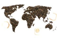 世界地图由茶制成 库存图片