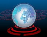 世界地图由黑客电路概念背景的网络攻击 Vec 向量例证