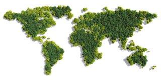 世界地图由绿色树做成 库存照片