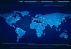 世界地图的低多图象与技术接口的 免版税库存图片