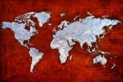 世界地图的压印的金属安心 库存图片