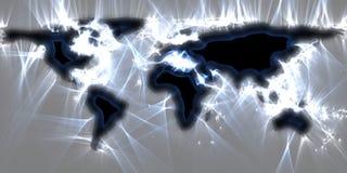 世界地图的惊人vivisualization使用kirlian能量摄影的 向量例证
