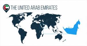 世界地图的阿拉伯联合酋长国地点infographics的 在地图别针的阿拉伯联合酋长国回合旗子或 向量例证