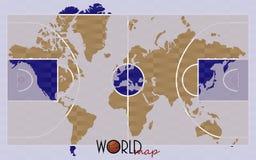 世界地图篮球 免版税库存图片