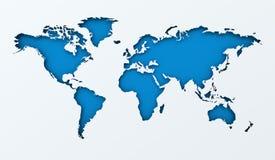 世界地图纸保险开关有蓝色背景 库存图片