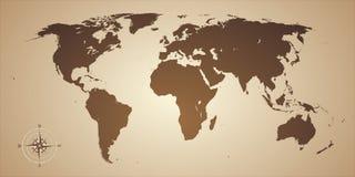 世界地图老牌 免版税库存图片
