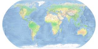 世界地图详细的物理地图 免版税图库摄影