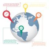 世界地图通信概念的地球信息图表 免版税库存照片