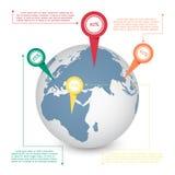 世界地图通信概念的地球信息图表 免版税图库摄影