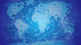 世界地图马赛克蓝色 免版税库存图片