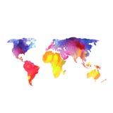 世界地图绘与水彩,被绘的世界地图  免版税图库摄影
