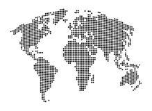 世界地图-摘要被加点的传染媒介背景 黑白剪影例证 库存图片