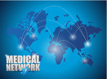 世界地图医疗网络例证 免版税库存照片
