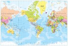 世界地图-美国在中心-深测术 库存图片