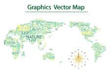 世界地图Eco字体  免版税库存照片