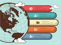 世界地图infographic传染媒介设计 Infographic设计模板,地球横幅 免版税库存照片