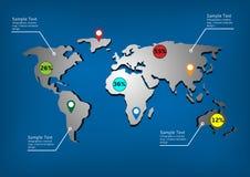 世界地图infographic模板 免版税图库摄影
