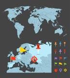 世界地图infographic模板 免版税库存图片
