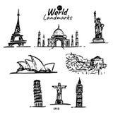 世界地标剪贴美术象  库存例证