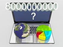 世界地球、地图和3d圆形统计图表在膝上型计算机 图库摄影