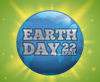 世界地球日与蓝色世界的庆祝设计和发光,传染媒介例证 库存图片