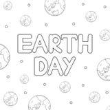世界地球日地球文本和象  着色页 免版税库存照片