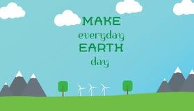 世界地球日的印刷设计海报 库存照片