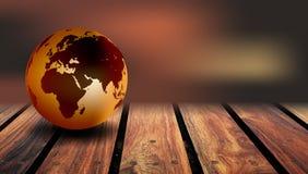 世界地球木头背景 在土气木背景的世界地球 免版税库存图片