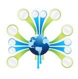 世界地球连接模板例证 免版税图库摄影