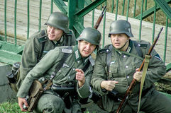 1941年世界大战争斗的重建2在俄罗斯的卡卢加州地区 免版税库存图片